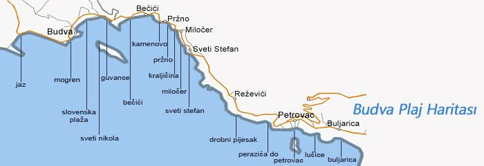 Budva Plajları ve Beach Haritası